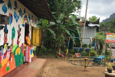 The school has now been partly renovated after the flood. The front of the school has been cheerfully painted by the parents of the children as volunteers.